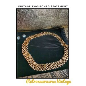 Vintage Interlocking Woven Two-Tone Necklace